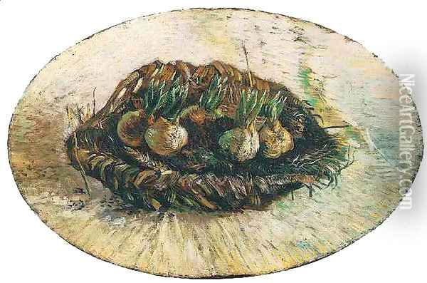 Basket Of Sprouting Bulbs Oil Painting - Vincent Van Gogh
