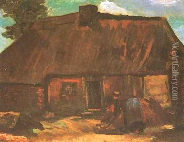 Cottage With Peasant Woman Digging Oil Painting - Vincent Van Gogh
