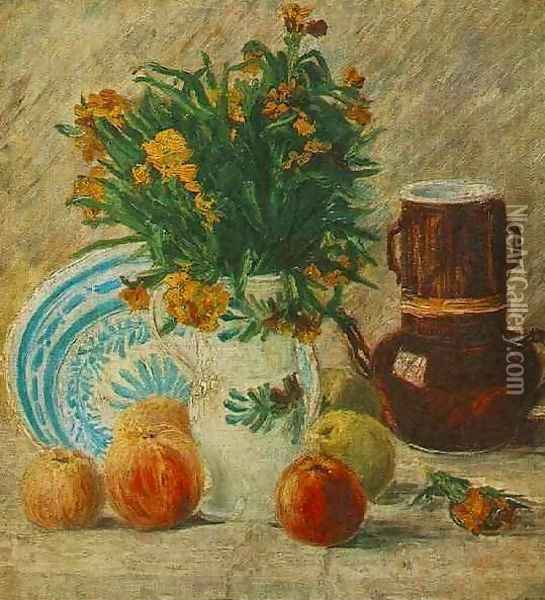 Vase With Flowers Coffeepot And Fruit Oil Painting - Vincent Van Gogh