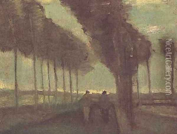 Country Lane With Two Figures Oil Painting - Vincent Van Gogh