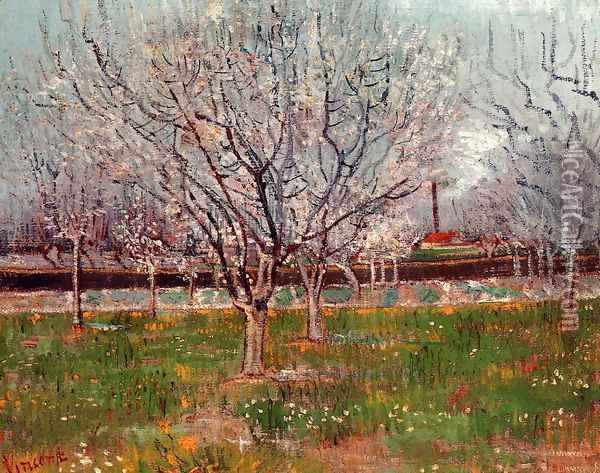 Orchard In Blossom Bordered By Cypresses Oil Painting - Vincent Van Gogh