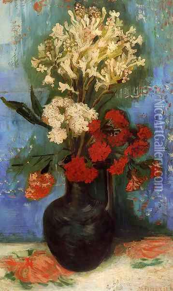 Vase With Carnations And Other Flowers Oil Painting - Vincent Van Gogh