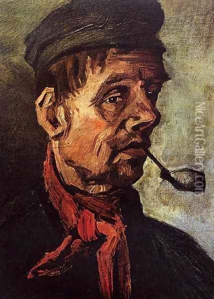 Head Of A Peasant With A Pipe Oil Painting - Vincent Van Gogh