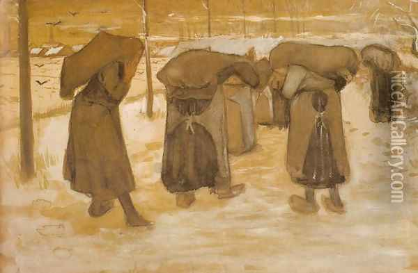 Miners' Wives Oil Painting - Vincent Van Gogh