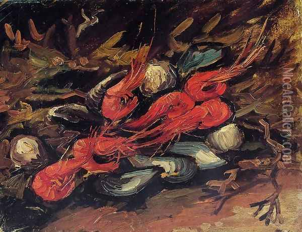 Still Life With Mussels And Shrimps Oil Painting - Vincent Van Gogh
