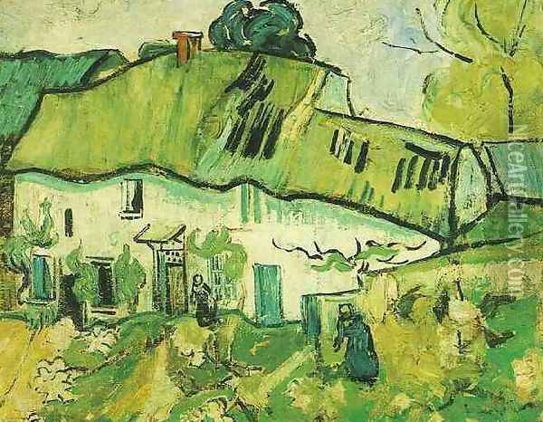 Farmhouse With Two Figures Oil Painting - Vincent Van Gogh