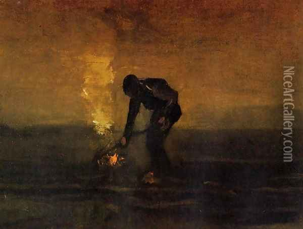 Peasant Burning Weeds Oil Painting - Vincent Van Gogh
