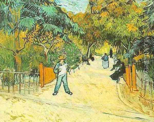 Entrance To The Public Park In Arles Oil Painting - Vincent Van Gogh