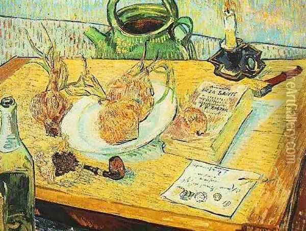 Drawing Board Pipe Onions And Sealing Wax Oil Painting - Vincent Van Gogh