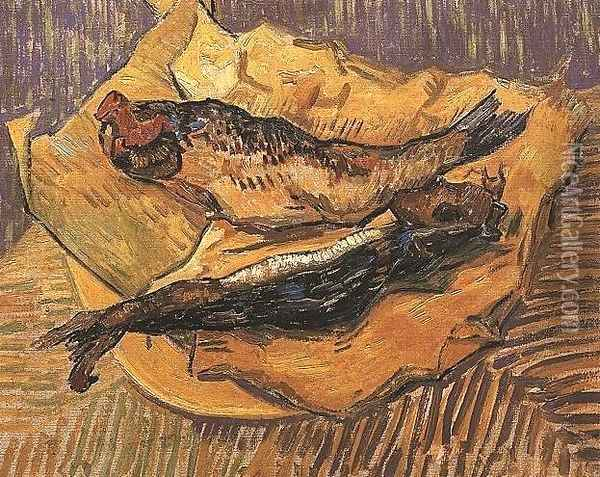 Bloaters On A Piece Of Yellow Paper Oil Painting - Vincent Van Gogh