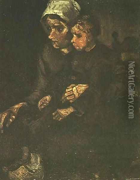 Peasant Woman With Child On Her Lap Oil Painting - Vincent Van Gogh