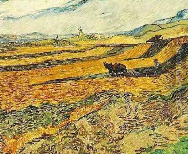 Field With Ploughman And Mill Oil Painting - Vincent Van Gogh