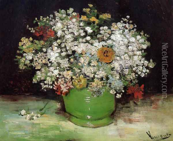 Vase With Zinnias And Other Flowers Oil Painting - Vincent Van Gogh