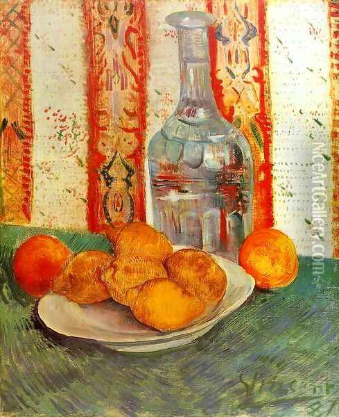 Still Life With Decanter And Lemons On A Plate Oil Painting - Vincent Van Gogh