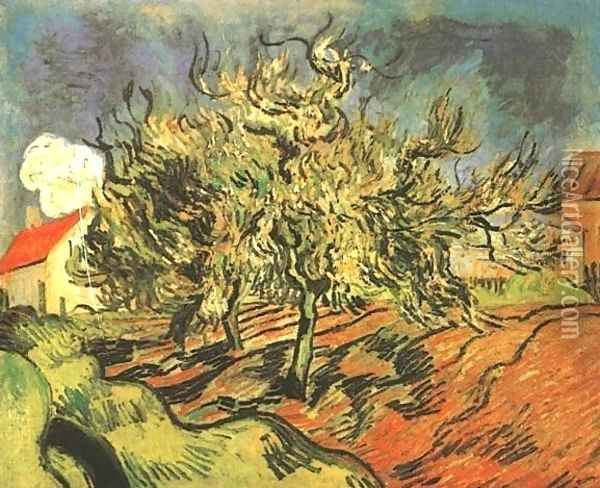 Landscape With Three Trees And A House Oil Painting - Vincent Van Gogh