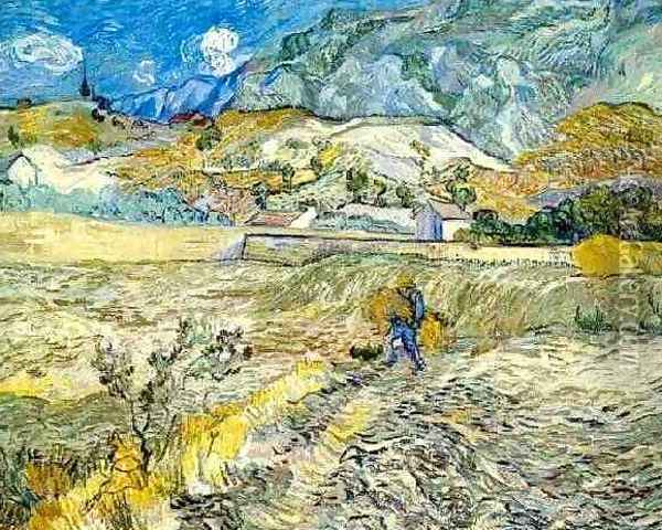 Enclosed Wheat Field With Peasant Oil Painting - Vincent Van Gogh