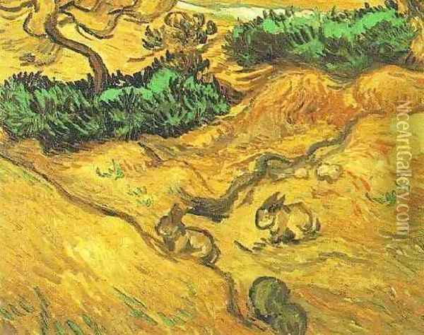 Field With Two Rabbits Oil Painting - Vincent Van Gogh