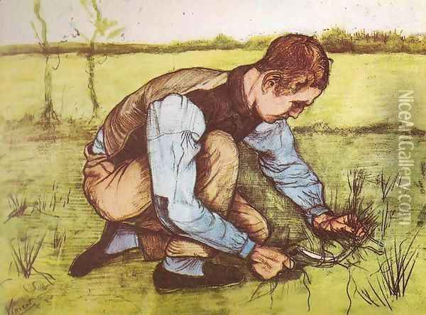 Young Boy Cutting Grass Oil Painting - Vincent Van Gogh