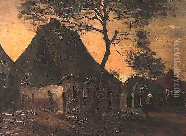 Cottage With Trees III Oil Painting - Vincent Van Gogh
