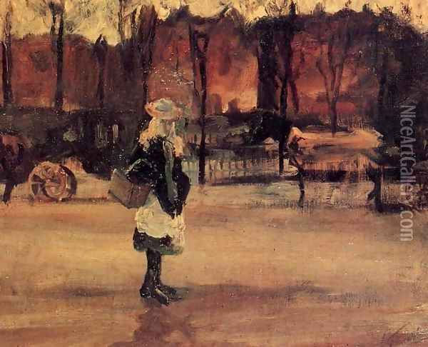 Girl In The Street Two Coaches In The Background A Oil Painting - Vincent Van Gogh
