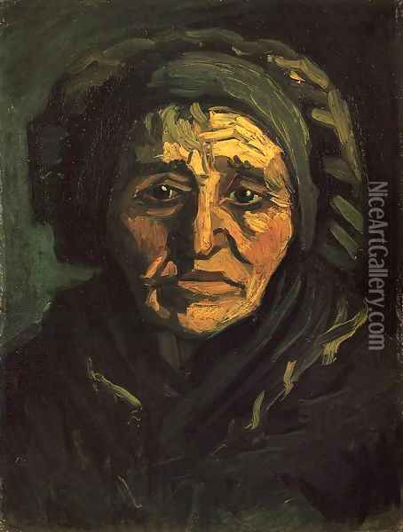 Head of a Peasant Woman with a Greenish Lace Cap Oil Painting - Vincent Van Gogh