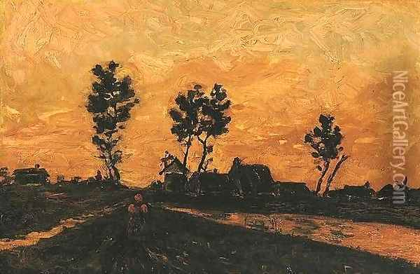 Landscape At Sunset Oil Painting - Vincent Van Gogh