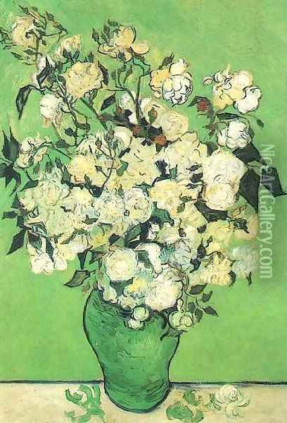 Pink Roses In A Vase Oil Painting - Vincent Van Gogh