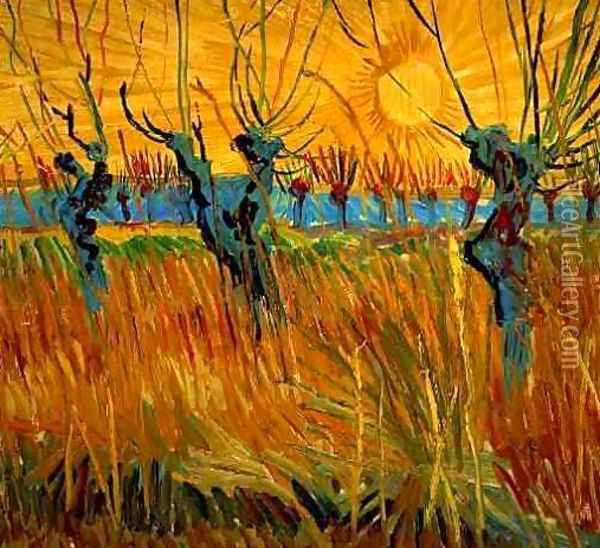 Willows At Sunset Oil Painting - Vincent Van Gogh
