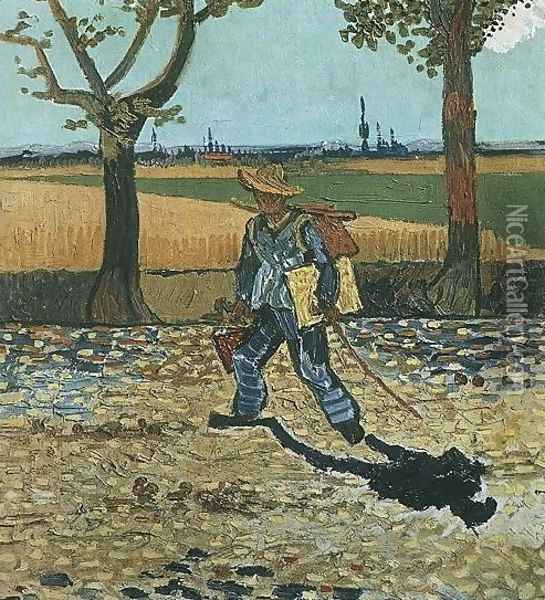 The Painter On His Way To Work Oil Painting - Vincent Van Gogh