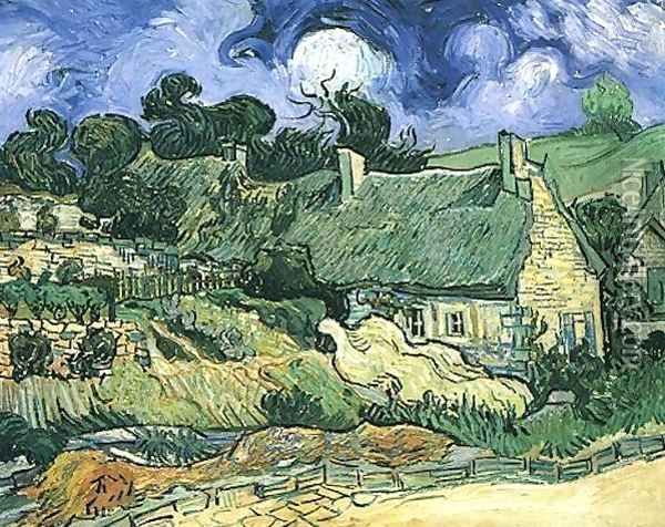 Thatched Cottages At Cordeville Oil Painting - Vincent Van Gogh