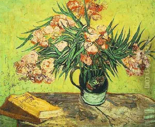 Vase With Oleanders And Books Oil Painting - Vincent Van Gogh