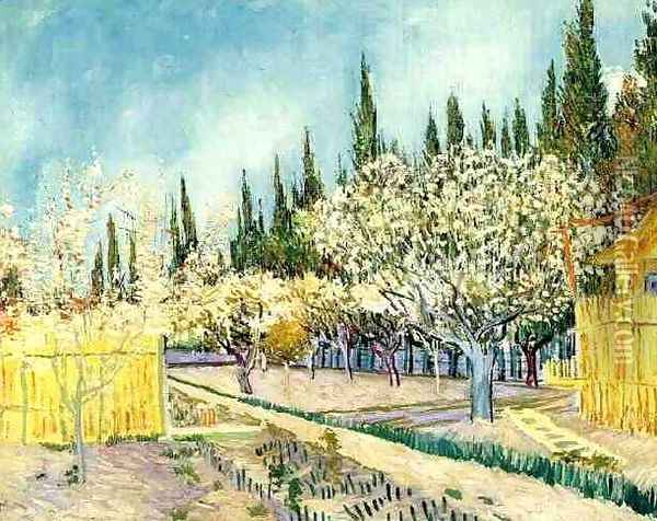 Orchard In Blossom Bordered By Cypresses II Oil Painting - Vincent Van Gogh