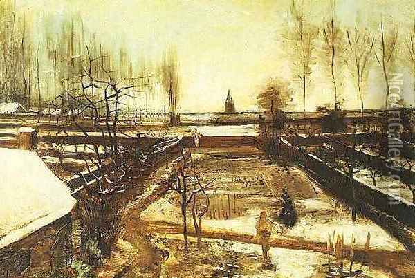 Parsonage Garden At Nuenen In The Snow The II Oil Painting - Vincent Van Gogh