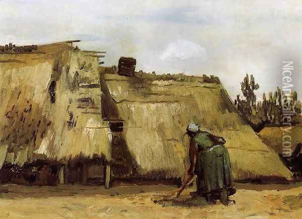 Cottage with Woman Digging Oil Painting - Vincent Van Gogh