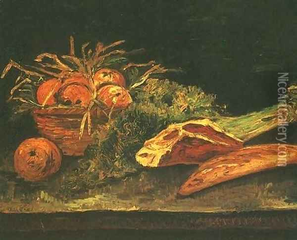 Still Life With Apples Meat And A Roll Oil Painting - Vincent Van Gogh