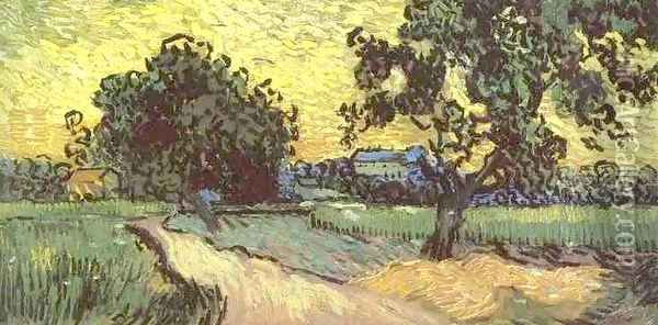 Landscape With The Chateau Of Auvers At Sunset Oil Painting - Vincent Van Gogh