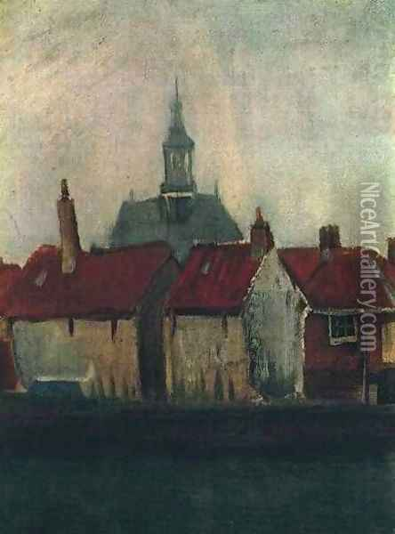 Cluster Of Old Houses With The New Church In The Hague Oil Painting - Vincent Van Gogh