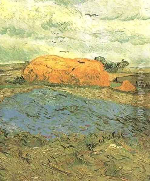 Haystacks Under A Rainy Sky Oil Painting - Vincent Van Gogh