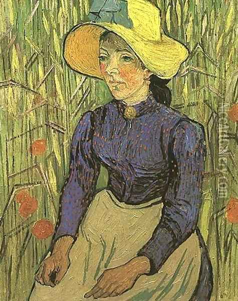 The Young Peasant Woman With Straw Hat Sitting In Oil Painting - Vincent Van Gogh