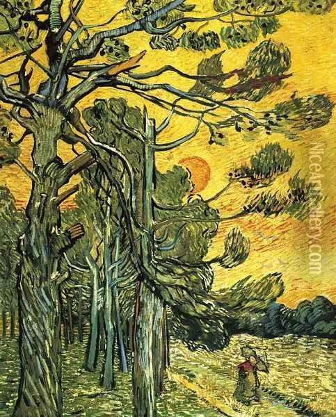 Pine Trees Against A Red Sky With Setting Sun Oil Painting - Vincent Van Gogh