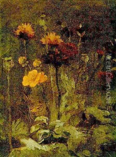 Still Life With Scabiosa And Ranunculus Oil Painting - Vincent Van Gogh