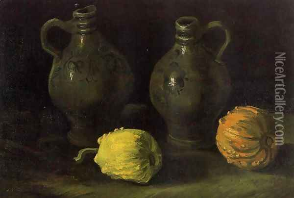 Still Life With Two Jars And Two Pumpkins Oil Painting - Vincent Van Gogh