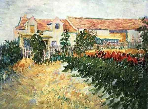 House With Sunflowers Oil Painting - Vincent Van Gogh