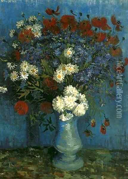 Vase With Cornflowers And Poppies Oil Painting - Vincent Van Gogh