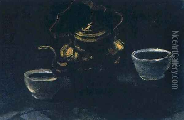 Still Life With Copper Coffeepot And Two White Bowls Oil Painting - Vincent Van Gogh