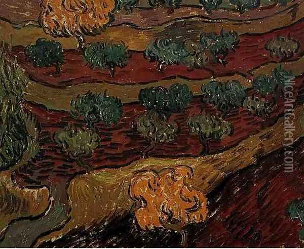 Olive Trees Against A Slope Of A Hill Oil Painting - Vincent Van Gogh
