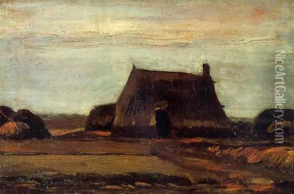 Farmhouse with Peat Stacks Oil Painting - Vincent Van Gogh