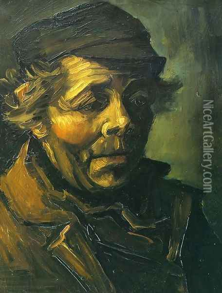 Head Of A Peasant With Cap Oil Painting - Vincent Van Gogh