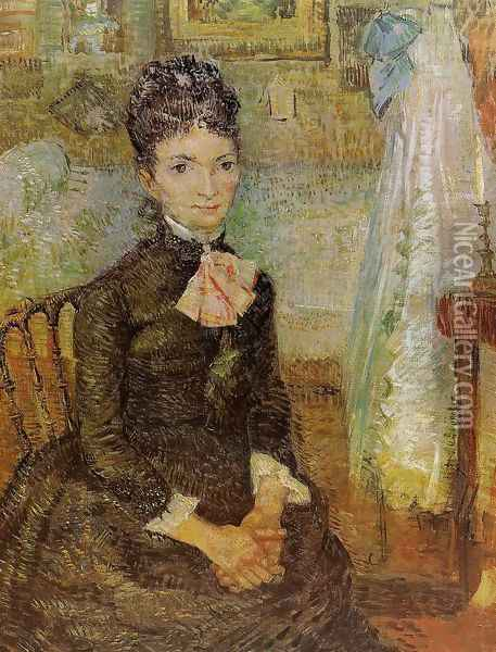 Woman Sitting By A Cradle Oil Painting - Vincent Van Gogh