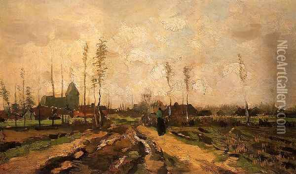 Landscape with Church and Farms Oil Painting - Vincent Van Gogh